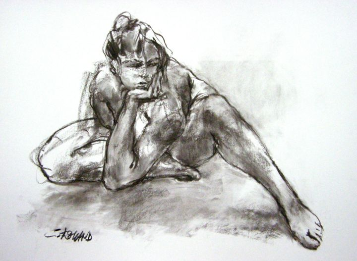 fusain 1996 10 - Drawing,  21.7x29.5 in, ©1996 by CHRISTIAN ROLLAND -                                                                                                                                                                                                                                                                                                                                      dessin, fusain, étude, live model, drawing, charcoal, study