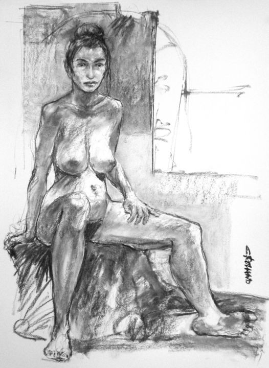 fusain 1997 60 - Drawing,  29.5x21.7 in, ©1997 by CHRISTIAN ROLLAND -                                                                                                                                                                                                                                                                                                                                                                                  dessin, fusain, modèle vivant, étude, drawing, charcoal, live model, study