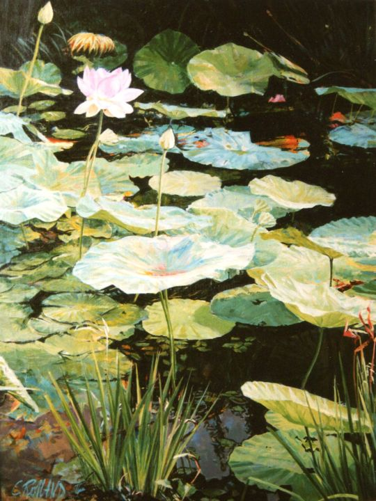 nymphéas 4 - Painting,  25.6x21.3 in, ©1992 by CHRISTIAN ROLLAND -                                                                                                                                                                                                                                                                                                                                                                                                                              peinture, nymphéas, nature, jardin, fleur d'eau, huile/toile, painting, oil on canvas, water lily