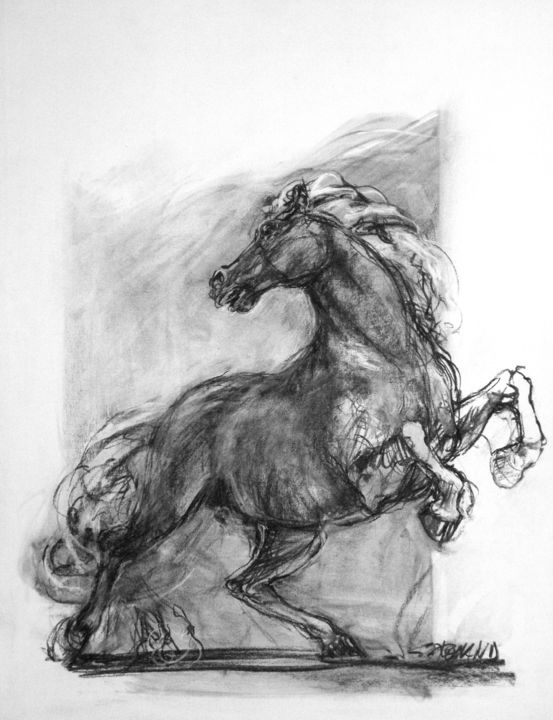 fusain 1994 10 - Drawing,  25.6x19.7 in, ©1994 by CHRISTIAN ROLLAND -                                                                                                                                                                                                                                                                                          dessin, cheval, fusain, drawing, charcoal, horse