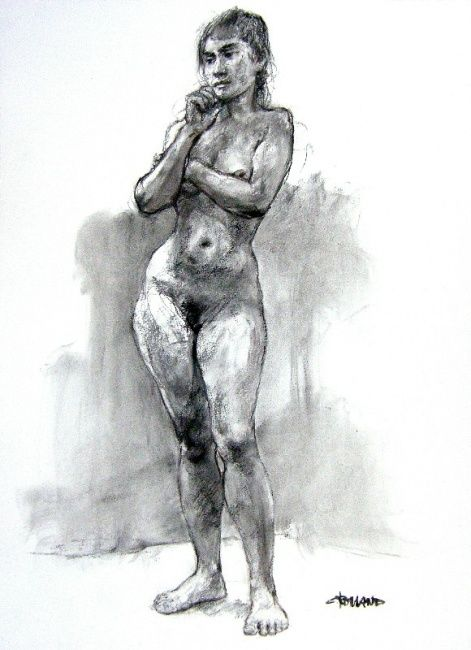 fusain 2007 - 11 - Drawing,  29.5x21.7 in, ©2007 by CHRISTIAN ROLLAND -                                                              Black and White
