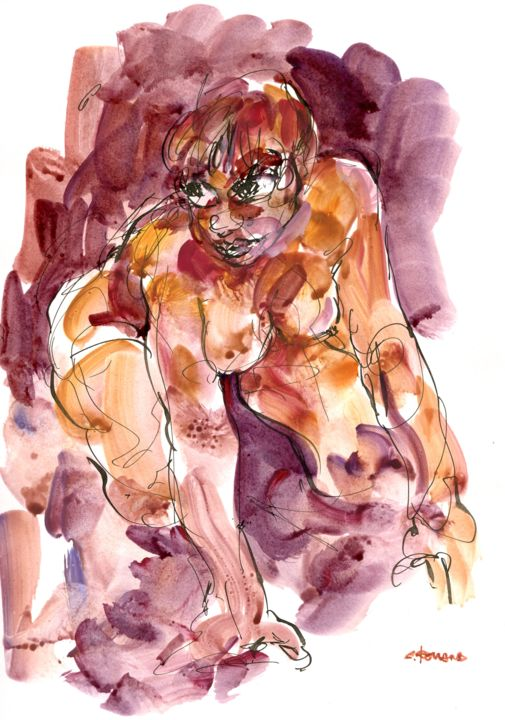 A4 2011 146 - Pittura,  11,7x8,3 in, ©2011 da CHRISTIAN ROLLAND -                                                                                                                                                                                                                                                                                                                                                                                      Nudo, painting, strange, live model, ink, gouache, encre, plume