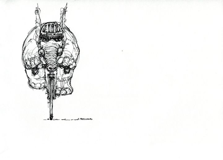 sport vélo 2015 2 - Drawing,  5.5x7.9 in, ©2015 by CHRISTIAN ROLLAND -                                                                                                                                                                                                                                              dessin, encre, stylo, sport, vélo