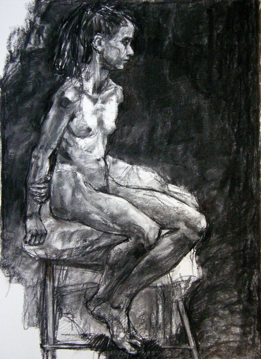 fusain mars 2017 1 - Drawing,  29.5x21.7 in, ©2017 by CHRISTIAN ROLLAND -                                                                                                                                                                                                                                              charcoal, drawing, dessin, fusain, modèle vivant