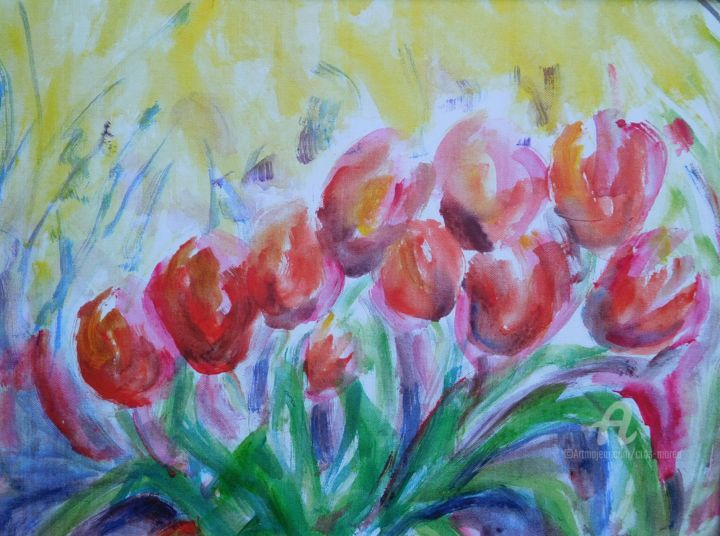 Tulipes oranges - Painting,  30x40x1 cm ©2018 by Simone Cros-Morea -                                                            Abstract Art, Other, Flower, Tulipes, rouges, Chine, printemps