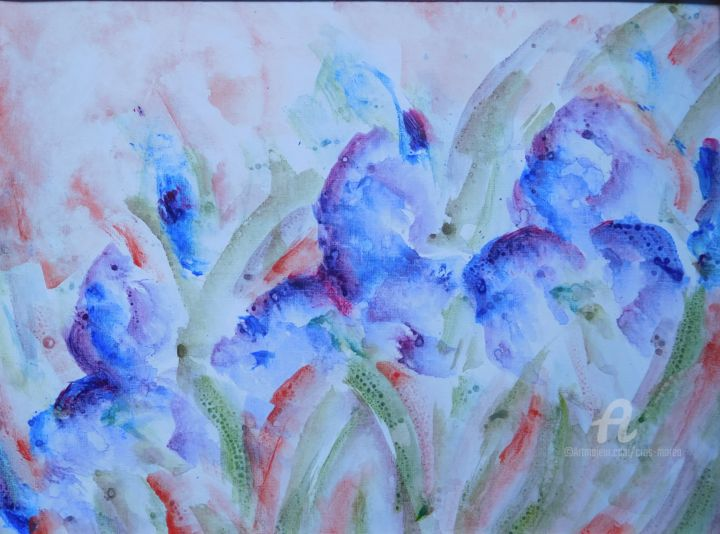 Iris violets - Painting,  30x40x1 cm ©2018 by Simone Cros-Morea -                                                            Abstract Art, Paper, Abstract Art, Fleur, iris, violet, Chine, Van Gogh, printemps