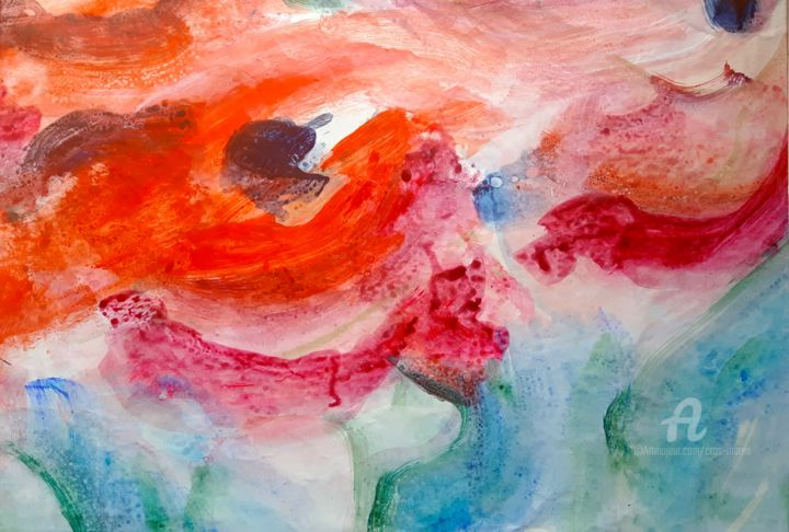 Coquelicots - Painting,  40x30x1 cm ©2018 by Simone Cros-Morea -                                                            Abstract Art, Other, Flower, Coquelicots, rouge, Chine, nature