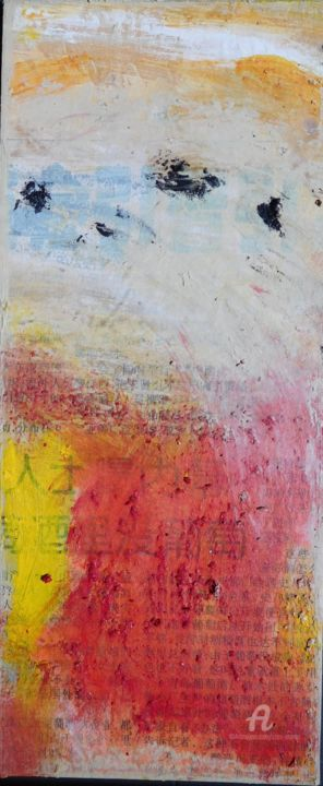 Feu.jpg - Painting,  21x9x1 cm ©2017 by Simone Cros-Morea -                                                        Abstract Art, Other, Abstract Art