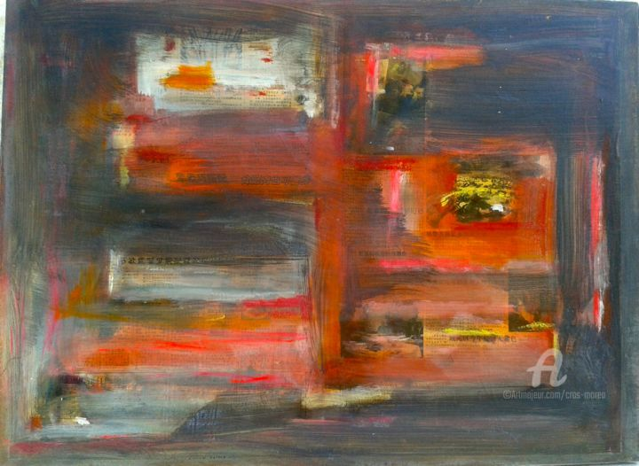 carnets-de-vie.jpg - Painting,  61x80x2 cm ©2017 by Simone Cros-Morea -                                                        Abstract Art, Other, Abstract Art