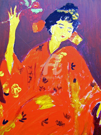 JAPONESE WOMAN - Painting,  11.8x5.9 in, ©2010 by LODYA -                                                                                                                                                      femme japonaise, japonese woman, acrylic painting peinture acrylique