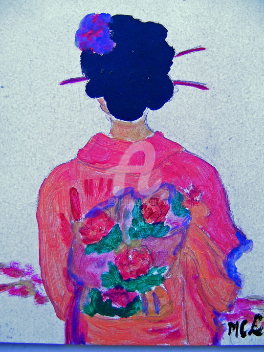 geisha - Painting,  7.9x6.3 in, ©2010 by LODYA -                                                              acrylique japonaise
