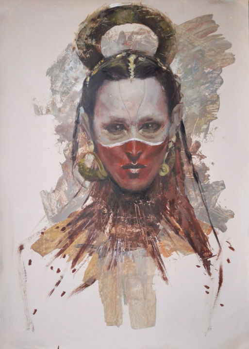 """Painting titled """"ANCIENT GODDESS. -…"""" by Cryptid, Original Art, Acrylic"""