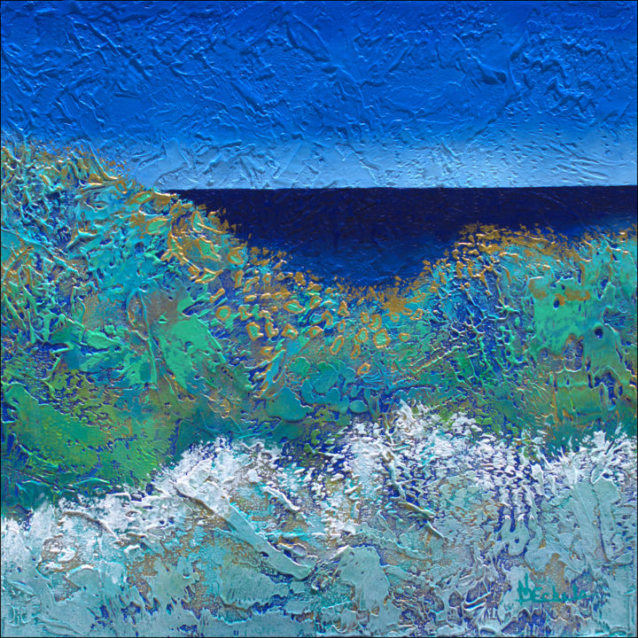 """Painting titled """"Golden Waves"""" by Nancy Eckels, Original Art, Acrylic Mounted on Stretcher frame"""