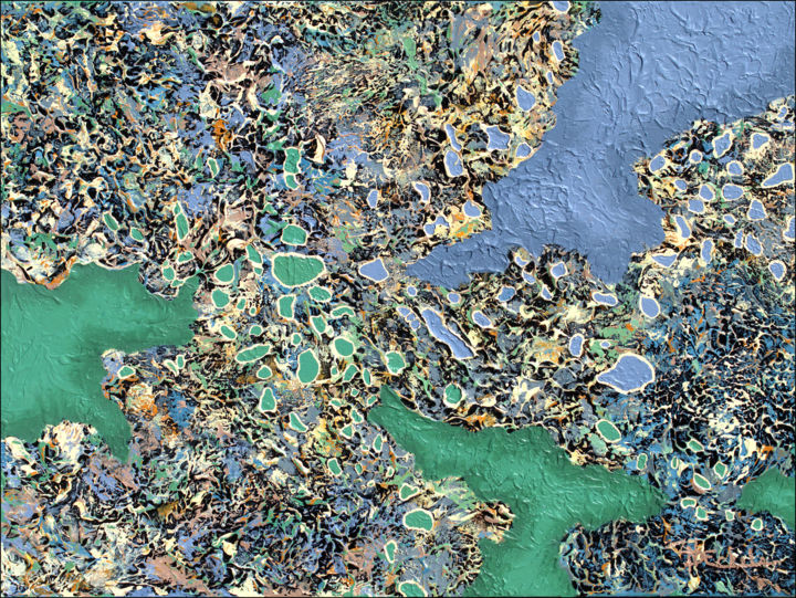 """Painting titled """"Liquid BlueGreen"""" by Nancy Eckels, Original Art, Acrylic Mounted on Stretcher frame"""