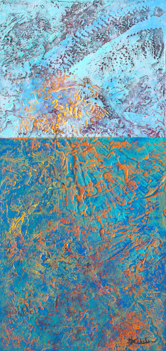 """Painting titled """"Ocean Reflections"""" by Nancy Eckels, Original Art, Acrylic Mounted on Stretcher frame"""