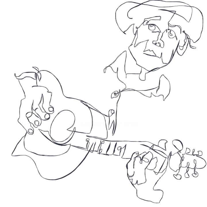 """Drawing titled """"Blues Man"""" by Catherine Stroud, Original Art, Digital Photography"""