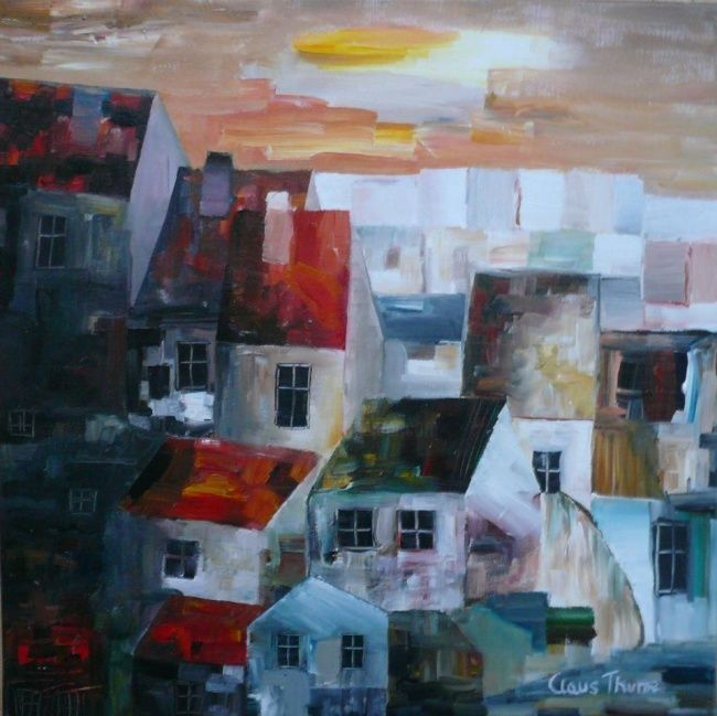 """Painting titled """"The Houses"""" by Thuroe, Original Art,"""