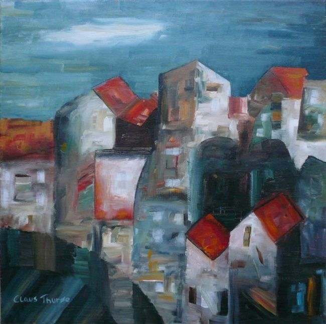 """Painting titled """"The City on th Rock"""" by Thuroe, Original Art,"""