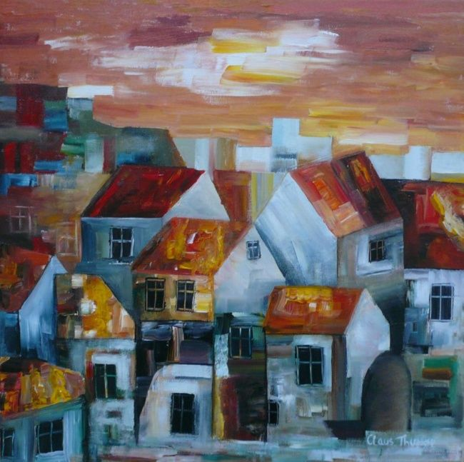 """Painting titled """"Sunny Houses"""" by Thuroe, Original Art,"""