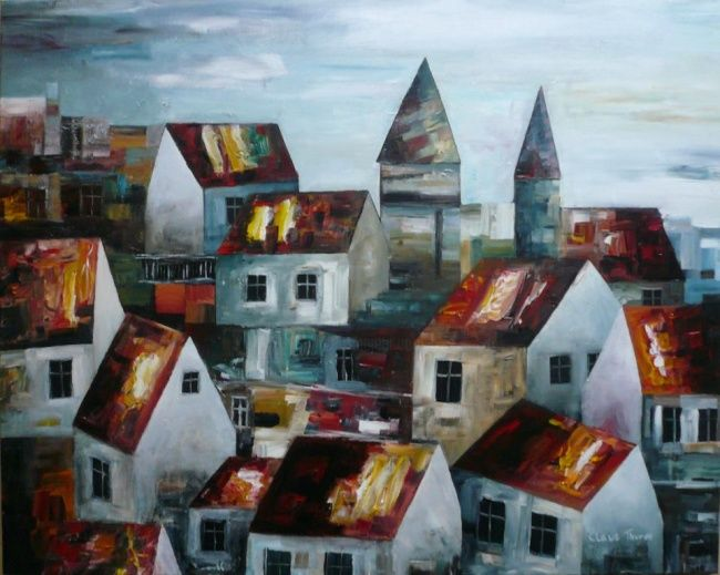 """Painting titled """"The two Towers"""" by Thuroe, Original Art,"""