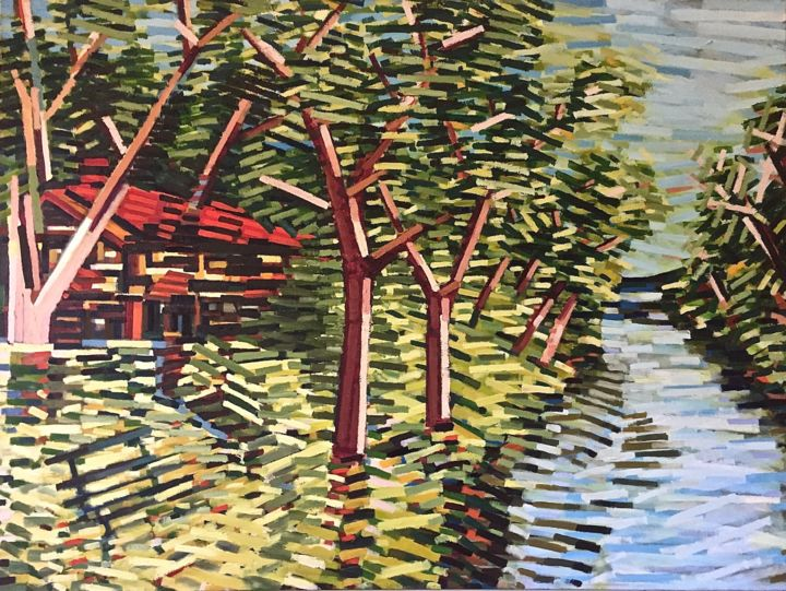 """Painting titled """"Boathouse"""" by David Ross, Original Art,"""