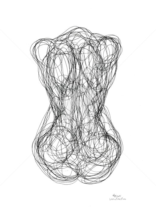 Single Line Unicode Art : Back of woman one line drawing cuboism
