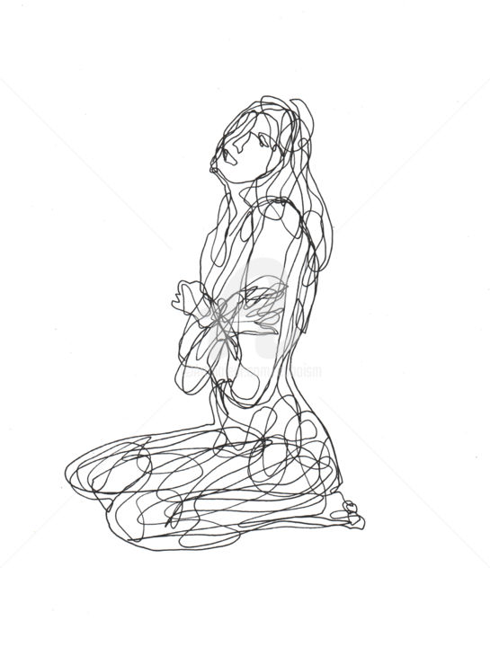 Line Drawing Vs Value Drawing : One line drawing woman cuboism