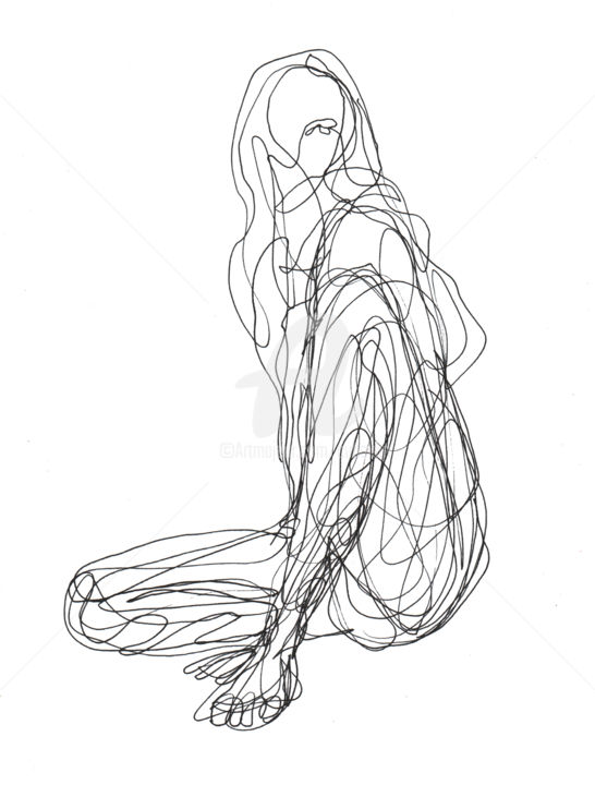 Abstract Line Art Paintings : One line drawing woman cuboism