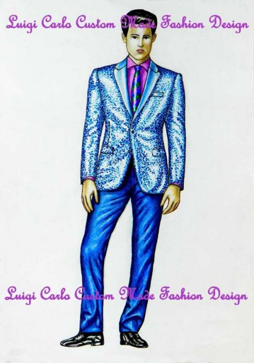 Custom made man suit - Artcraft,  11.8x8.3 in, ©2013 by Luigi Carlo -                                                                                                                                                                                                                                                                                                                                                                                                                                                                                                                                                                                                                                                                                                                                                                          Figurative, figurative-594, Fashion, Custom made man suit, haute couture, freelance fashion designer, bespoke men dresses, customizes outfits, mode haute couture, fashion designer, ceremony dresses, fashion design, bridal gowns, fashion design, ceremonial menswear, fashion designs