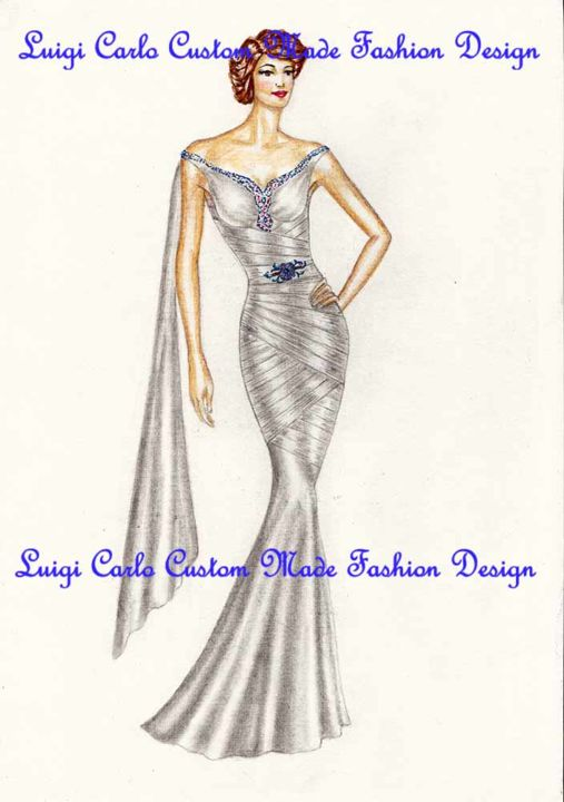 Fashion design celebrations and special occasions party-gown - Artcraft,  11.8x8.3 in, ©2013 by Luigi Carlo -                                                                                                                                                                                                                                                                                                                                                                                                                                                                                                                                                                                                                                                                                                                                                                                                                          Figurative, figurative-594, Paper, Fashion, fashion design, custom made dresses, party gowns, , fashion designer Luigi Carlo, ceremony dresses, fashion design, bridal gowns, evening dresses fashion design, ceremonial women gown, special occasions gowns, fashion designs, Luigi Carlo fash