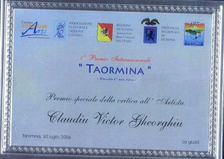 """""""  Special Prize of the Critic"""" at  Premio TAORMINA, Sicily, Italy, 2006"""