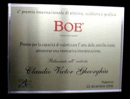 Special Prize of the Critic at 2 Premio BOE, Palermo, Italy, december 2006