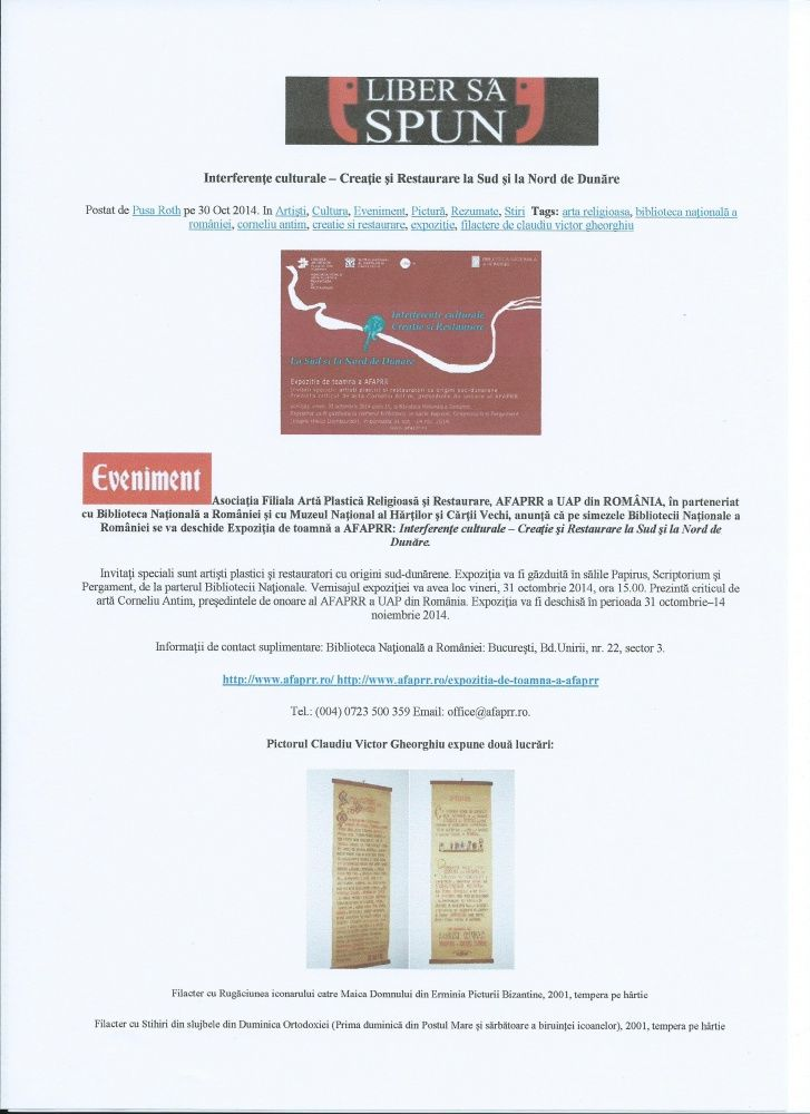 """The  AFAPRR   2014 Autumn EXHIBITION """"Cultural interference - Creation and Restoration on the  South and North of the Danube""""."""