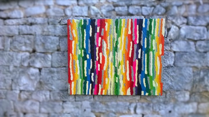 rainbow - Painting,  2x80x100 cm ©2014 by Cyl VAN OYCKE -                                                        Contemporary painting, Colors, Light, matieres, couleurs