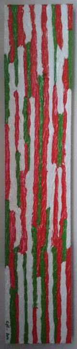 Anis - Peinture,  7,9x1,6x39,4 in, ©2014 par Cyl Van Oycke -                                                                                                                                                                                                                                                                                                                                                              Abstract, abstract-570, Art abstrait, artwork_cat.Colors, vert, rouge, ligne