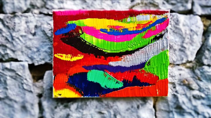 Fish colors - Painting,  2x30x40 cm ©2013 by Cyl VAN OYCKE -                                            Abstract Expressionism, Animals, couleur