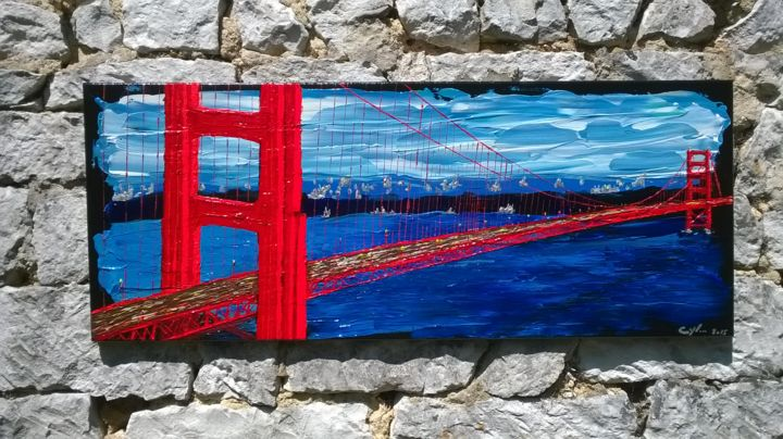 San Francisco - Painting,  2x40x100 cm ©2015 by Cyl VAN OYCKE -                                            Figurative Art, Landscape, rouge, pont, usa