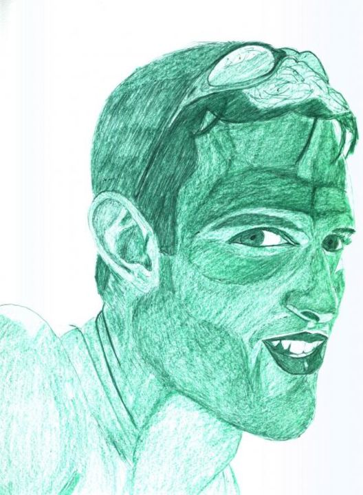 Jeune homme vert - Painting,  16.5x11.4 in, ©2004 by Cyrus -                                                                                                                                                                                                  vert, homme, crayon aquarelle, stylo