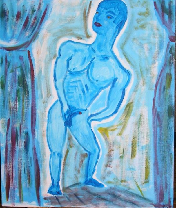 L'homme  nu bleu - Painting,  25.6x21.3 in, ©2005 by Cyrus -                                                                                                                                                                                                      Nude, homme, nu, bleu