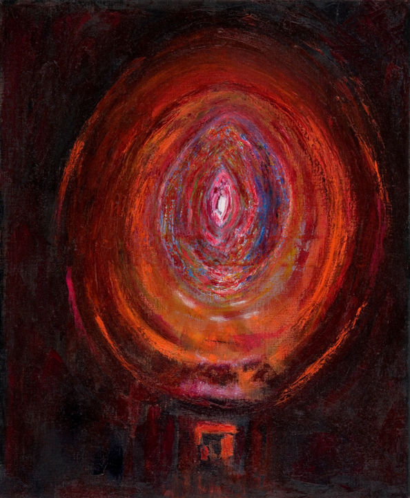 L'oeuf cosmique, détail, 2008 - Painting,  73x60x2 cm ©2008 by Cythara-Martine Gercault -                                                                                                Abstract Art, Figurative Art, Contemporary painting, Canvas, Outer Space, Spirituality, naissance, respiration holotropique, matrice, Stanislav Grof, oeuf, oeuf cosmique