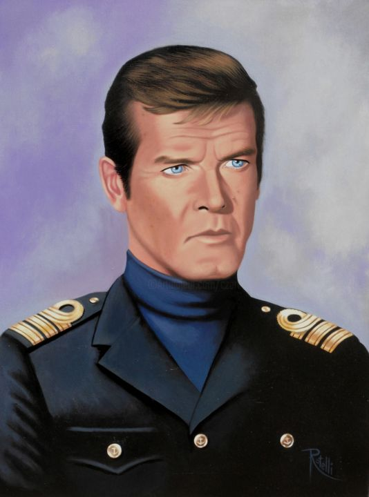 Roger Moore 007 - Painting,  27.6x19.7 in, ©2015 by CZart -                                                                                                                                                                                                                                                                                                                                                                                                          Figurative, figurative-594, Cinema, Men, Portraits, 007, James Bond, roger Moore