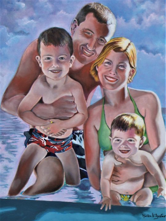Famigliola in vacanza - Painting,  31.5x23.6 in, ©2019 by M.D-Agostino -                                                                                                                                                                          Figurative, figurative-594, Family