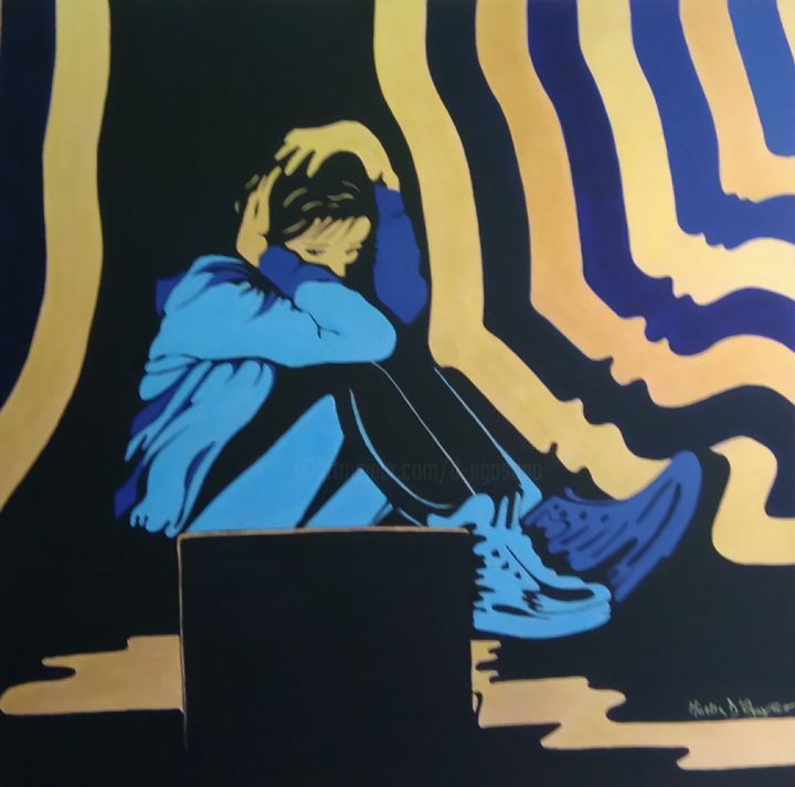 Nooo!!! - Painting,  31.5x31.5 in, ©2020 by M.D-Agostino -