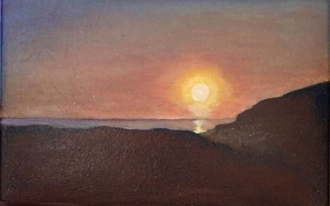 IL TRAMONTO IN SARDEGNA - Painting,  44x29 cm ©2010 by M.D-Agostino -