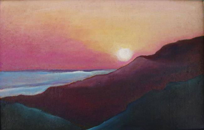 TRAMONTO - Painting,  44x29 cm ©2010 by M.D-Agostino -