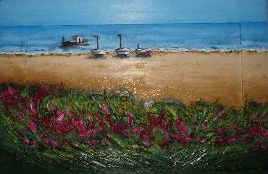 SPIAGGIA CON BARCHE - Painting,  30x44 cm ©2005 by M.D-Agostino -