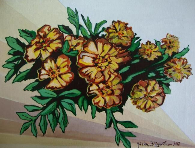 FIORI - Painting,  40x30 cm ©2010 by M.D-Agostino -