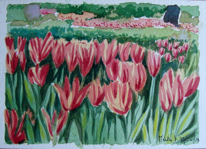 """TULIPANI"" Acquerello 16x26-anno2014 - Painting,  6.3x10.2 in, ©2014 by M.D-Agostino -                                                              ""TULIPANI"" Acquerello 16x26-anno2014"