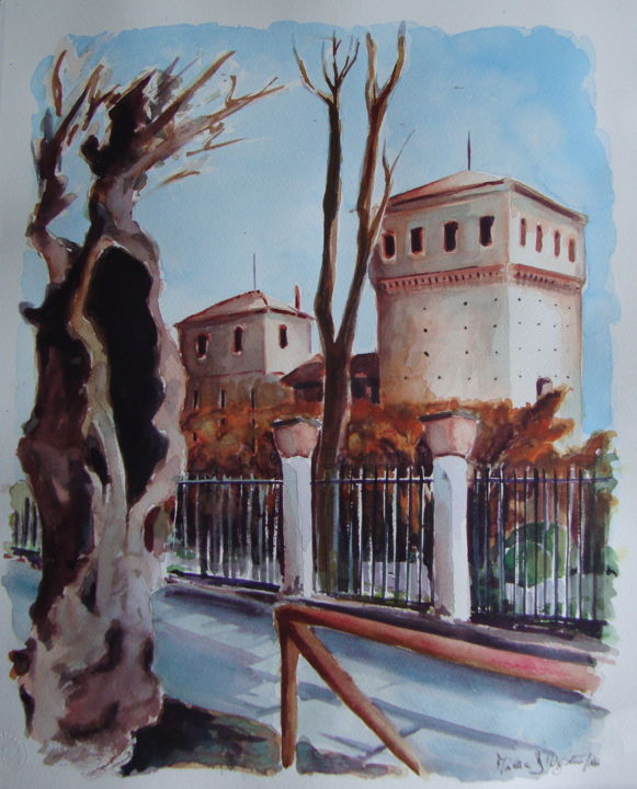 """Castello di Cherasco"" - Painting,  17.3x14.2 in, ©2014 by M.D-Agostino -                                                              ""Castello di Cherasco"""