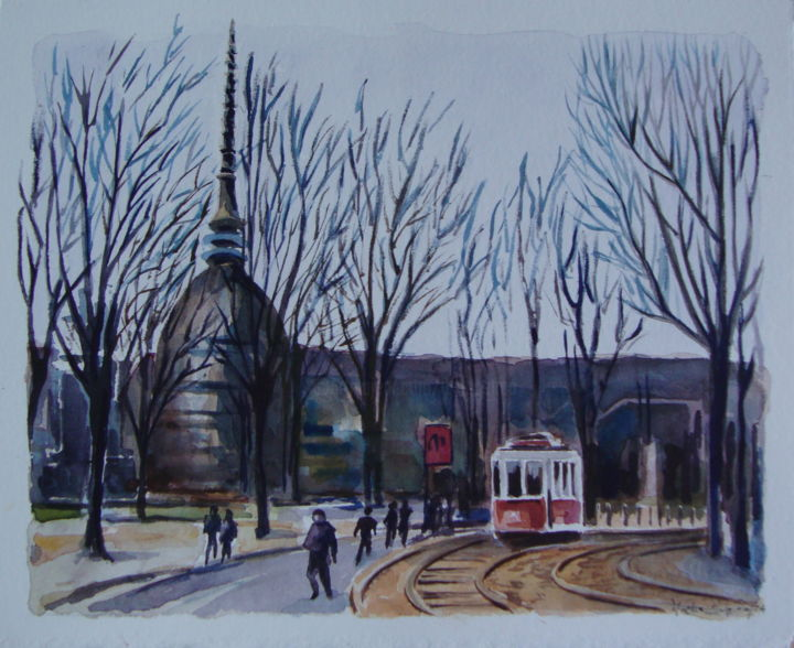 """TORINO Tram Storici"" acquerello-30x36-2014 - Painting,  36x30 cm ©2014 by M.D-Agostino -                                                            Illustration, Fabric, Cities, Torino Tram Storici"